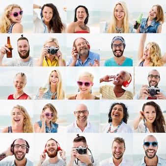 Conjunto de pessoas de rosto humano conceito de diversidade