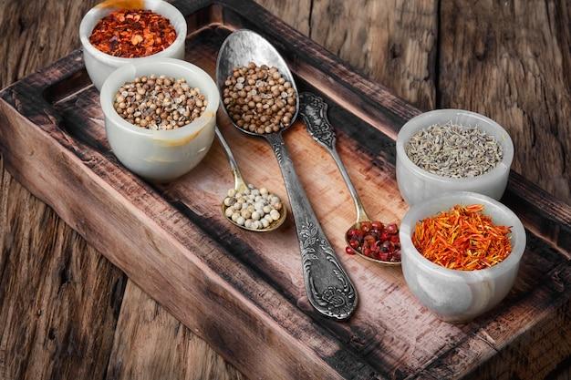 Conjunto de pimentas especiarias indianas