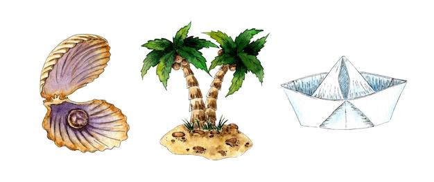 Conjunto de pintura em aquarela de concha com pérolas palmeiras na ilha e barco de papel