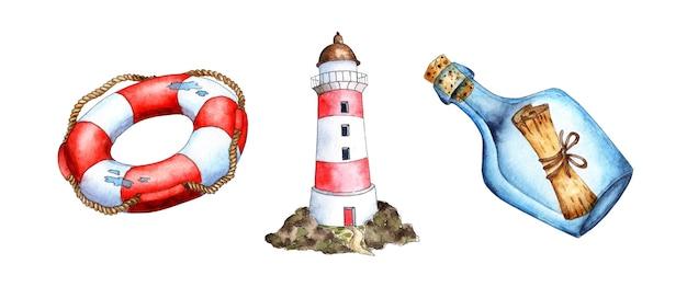 Conjunto de pintura em aquarela garrafa com nota farol bóia salva-vidas apoio naval propriedade marinheiro