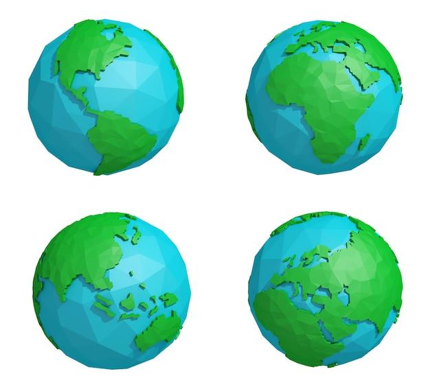Conjunto de planeta terra baixa poli com quatro continentes, ícone do globo poligonal, renderização em 3d