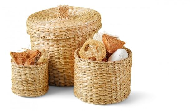 Conjunto de plantas e folhas secas de outono, pétalas e flores secas, ramos rústicos simples e cacho de trigo