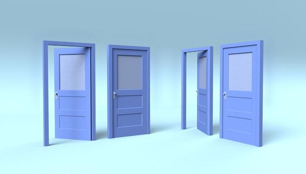 Conjunto de portas azuis abertas e fechadas. a sala de ideias. ilustração 3d. mínimo.