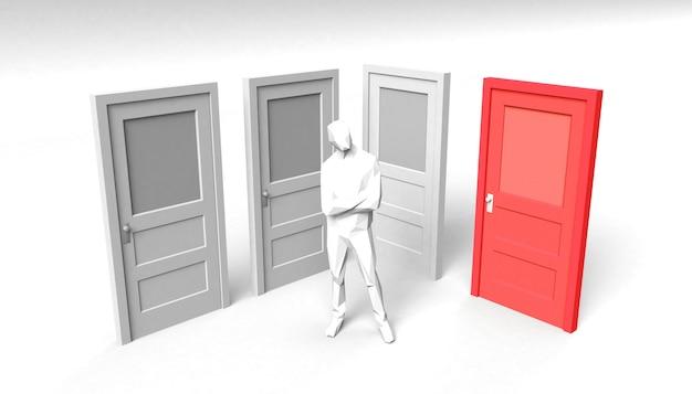 Conjunto de portas fechadas com porta e pessoa marcadas em azul. a sala de ideias. ilustração 3d. mínimo.