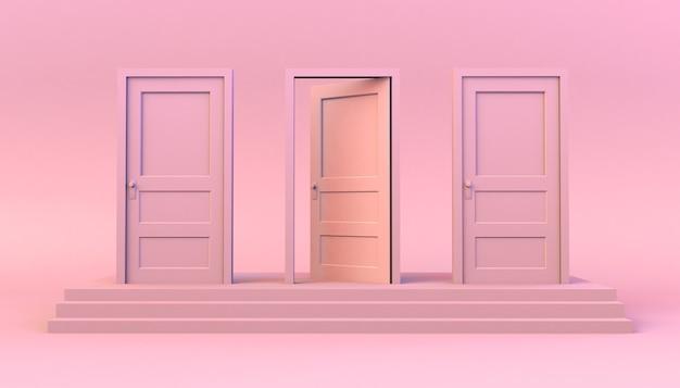 Conjunto de portas fechadas em degraus com uma aberta. ilustração 3d. mínimo. moderno.