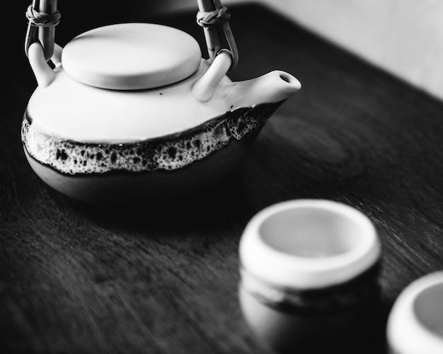Conjunto de pote de chá de cultura asiática