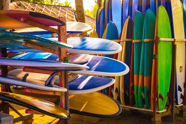 Conjunto de pranchas de surf de cores diferentes