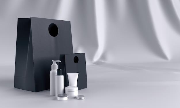 Conjunto de presentes de cosméticos em mock up preto e branco