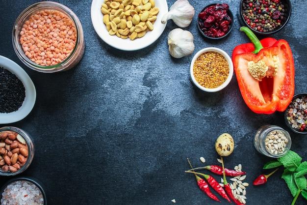 Conjunto de produtos de ingredientes alimentares saudáveis