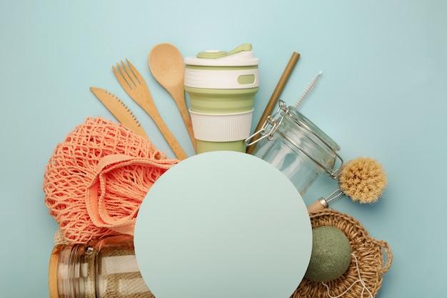 Conjunto de produtos eco com moldura de círculo