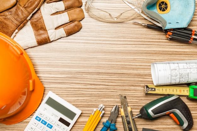 Conjunto de quadro de ferramentas do arquiteto