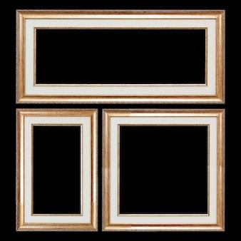 Conjunto de quadros vintage de madeira de closeup com espaço em branco para o seu projeto isolado em um fundo preto