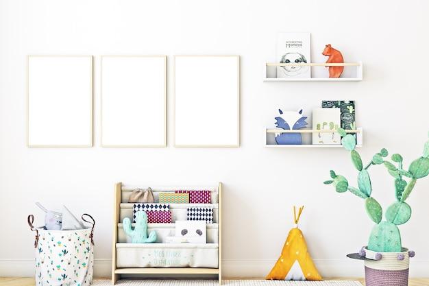 Conjunto de quarto infantil de maquete de quadro de 3