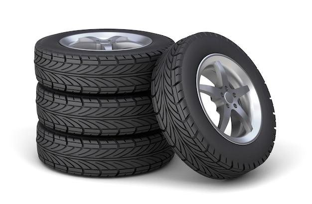 Conjunto de quatro pneus com discos. isolado no fundo branco. renderização 3d.