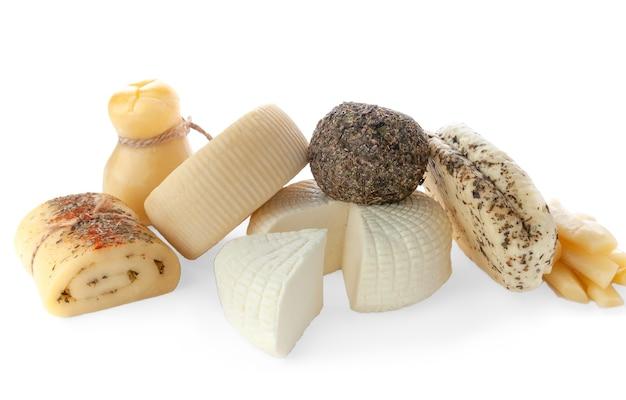 Conjunto de queijo halumi caciotta caciocavallo palitos de queijo suluguni belper knolle pão de queijo