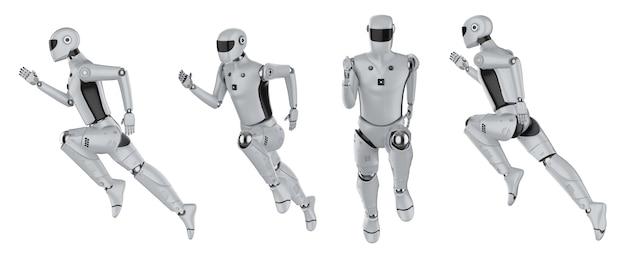 Conjunto de renderização 3d de ciborgues ou robôs de inteligência artificial executado isolado no branco