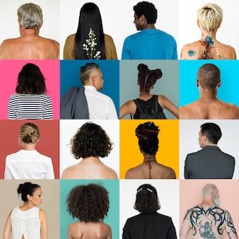 Conjunto de retratos de costas