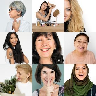 Conjunto de retratos de mulheres