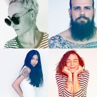 Conjunto de retratos de pessoas com tatuagens
