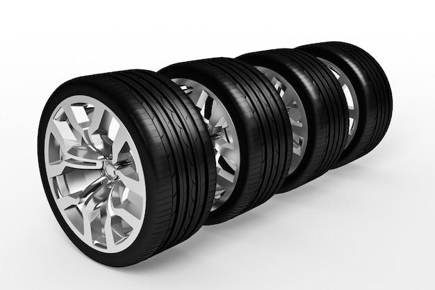 Conjunto de rodas de carro isolado sobre superfície branca