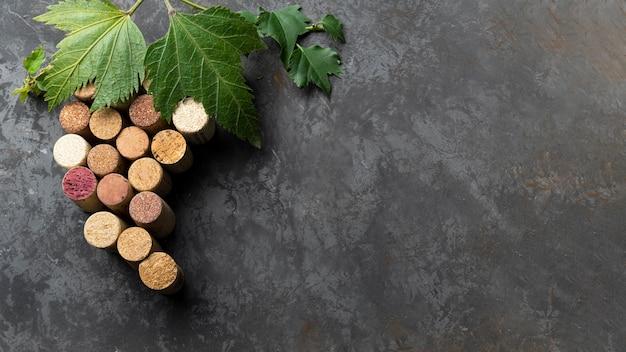 Conjunto de rolhas de vinho com espaço de cópia