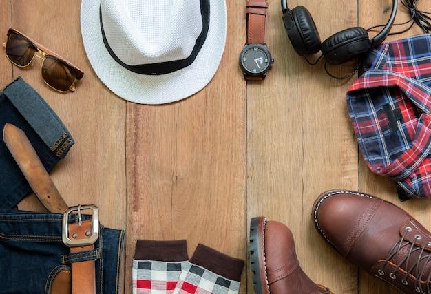 Conjunto de roupas da moda masculina e acessórios, vista superior