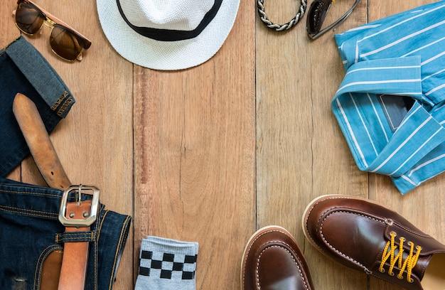 Conjunto de roupas e acessórios de moda homem