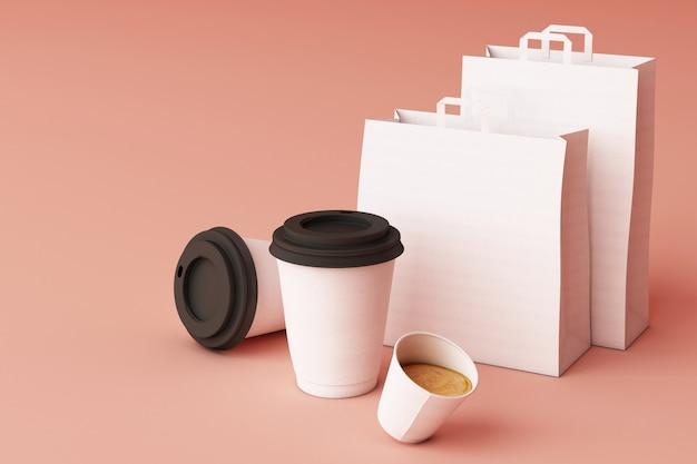 Conjunto de sacola de compras de papel branco e copos de café na renderização em 3d fundo rosa pastel