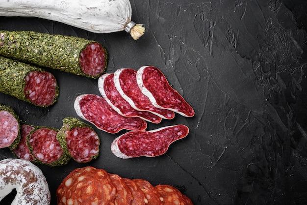 Conjunto de salame curado a seco, linguiças espanholas