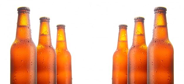 Conjunto de seis garrafas de cerveja isoladas no branco