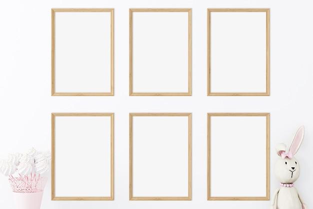 Conjunto de seis maquetes de madeira