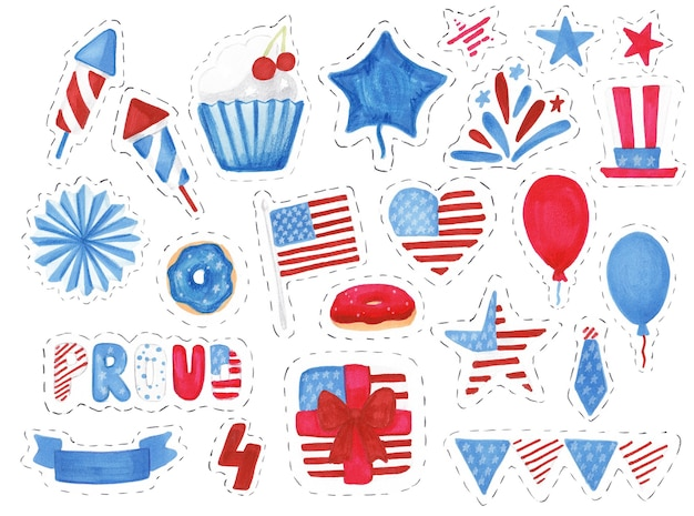 Conjunto de símbolos e adesivos do dia da independência dos estados unidos desenhado à mão com traçado de recorte isolado no branco