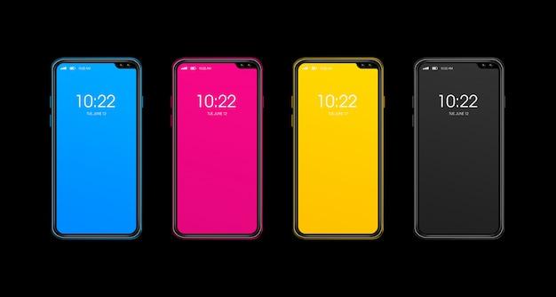 Conjunto de smartphone cmyk isolado