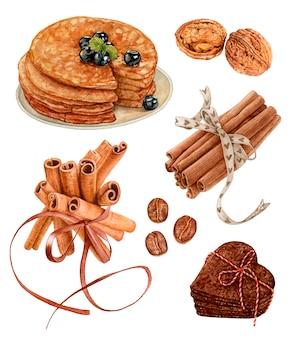 Conjunto de sobremesa em aquarela. panquecas, nozes, canela, grãos de café, biscoitos.