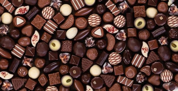 Conjunto de superfície de bombons de chocolate