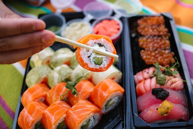 Conjunto de sushi de close-up