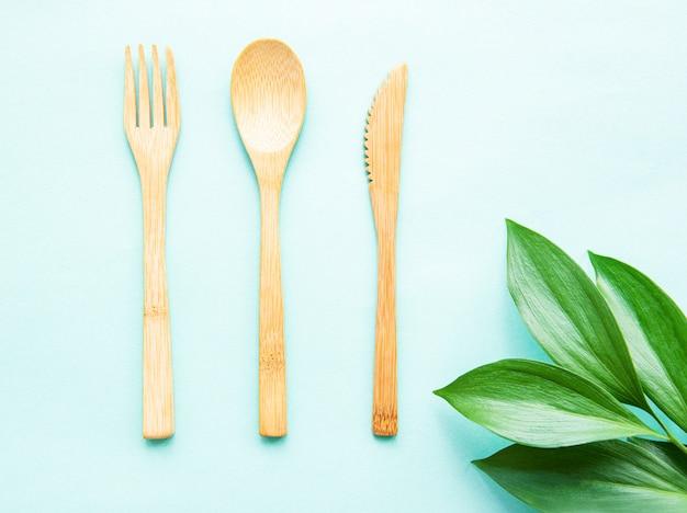 Conjunto de talheres de bambu ecológico