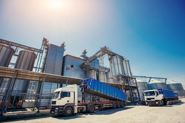 Conjunto de tanques de armazenamento de culturas agrícolas processadas pl