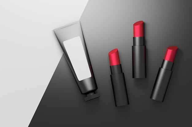 Conjunto de três batons de veludo vermelho com um tubo de embalagem cosmética