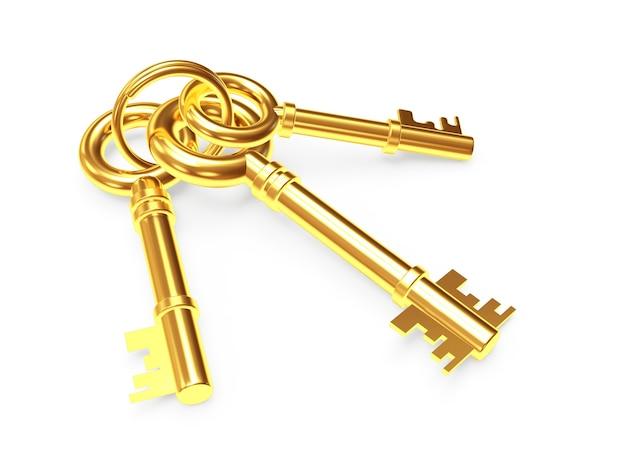 Conjunto de três chaves douradas