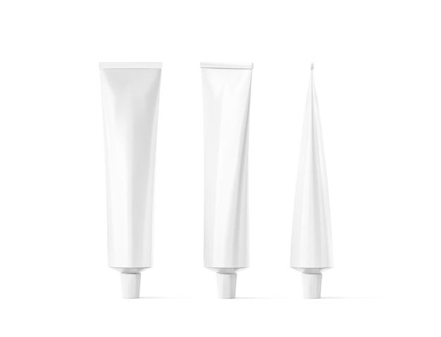 Conjunto de tubos brancos em branco, vista frontal e lateral