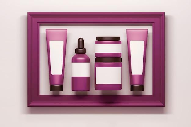 Conjunto de tubos de garrafas de embalagem cosméticos rosa com moldura