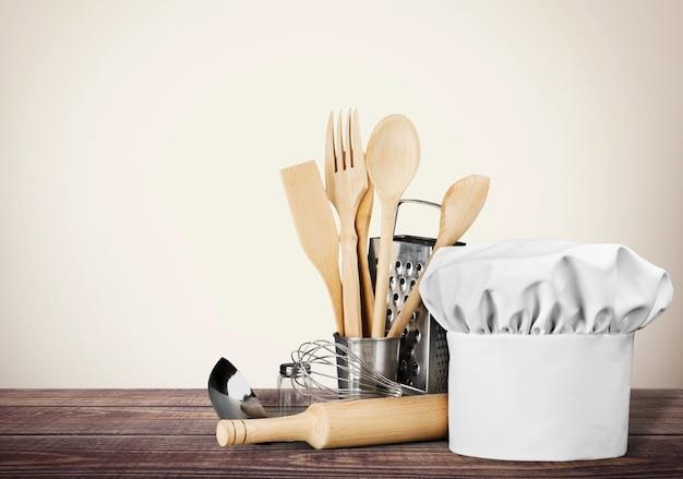 Conjunto de utensílios de cozinha no fundo