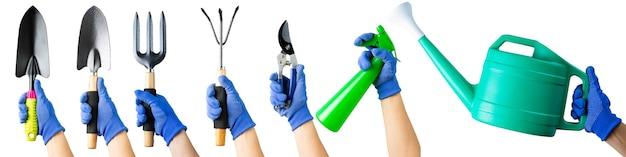 Conjunto de vários equipamentos de ferramenta de jardinagem. itens de ferramentas de jardim. planta de trabalho de agricultura essencial com isolado. mulher com luva segurando várias ferramentas de jardinagem.