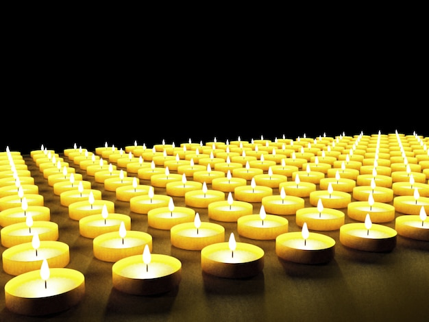 Conjunto de velas no escuro, renderização em 3d