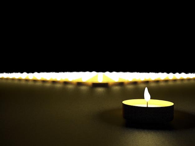 Conjunto de velas no escuro, traçado de recorte, renderização em 3d