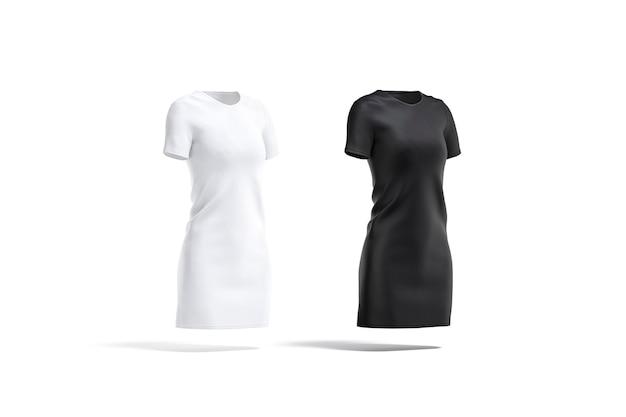 Conjunto de vestido de pano preto e branco em branco, vista lateral, renderização em 3d. vestido ou t-shirt vazio de têxteis midi, isolado. roupas femininas casuais claras para roupas da moda