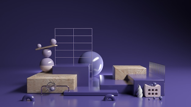 Conjunto de violeta abstrata display roxo e cosméticos, ilustração 3d