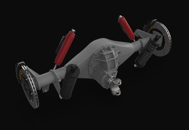 Conjunto do eixo traseiro com suspensão e freios. amortecedores vermelhos
