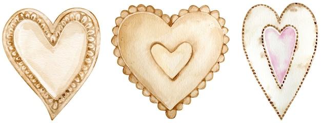 Conjunto em aquarela de corações marrons